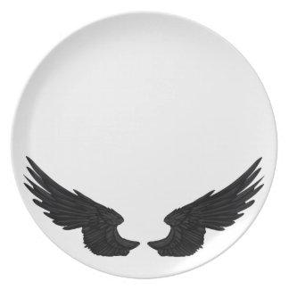 Falln Black Angel Wings Plate