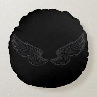 Falln Black Angel Wings Round Pillow