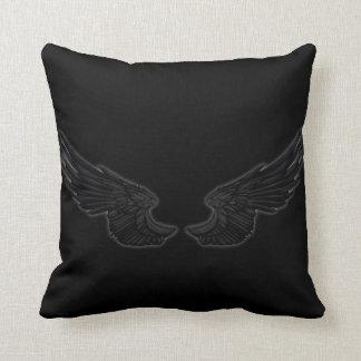 Falln Black Angel Wings Throw Pillow