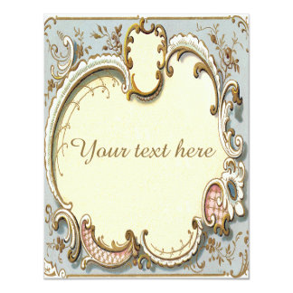 Falln Blue and Gold Victorian Frame Card