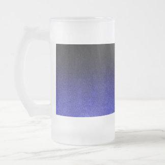 Falln Blue & Black Glitter Gradient Frosted Glass Beer Mug