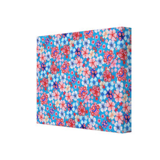 Falln Blue Cascading Floral Chirimen Canvas Print