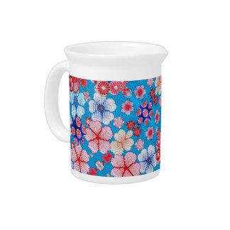 Falln Blue Cascading Floral Chirimen Drink Pitcher