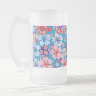 Falln Blue Cascading Floral Chirimen Frosted Glass Beer Mug
