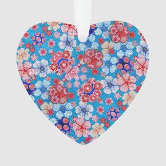 Falln Blue Cascading Floral Chirimen Ornament