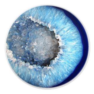Falln Blue Crystal Geode Ceramic Knob