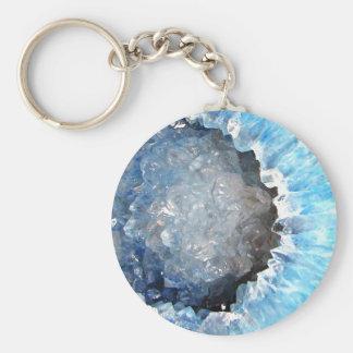 Falln Blue Crystal Geode Keychain