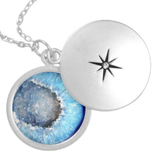 Falln Blue Crystal Geode Silver Plated Necklace