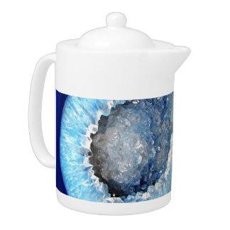 Falln Blue Crystal Geode Teapot