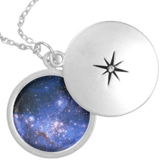 Falln Blue Embrionic Starfield Locket Necklace