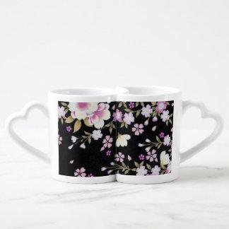 Falln Cascading Pink Flowers Coffee Mug Set