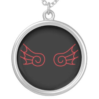 Falln Chibi Demon Wings Silver Plated Necklace