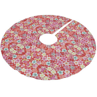 Falln Crimson Floral Chirimen Brushed Polyester Tree Skirt