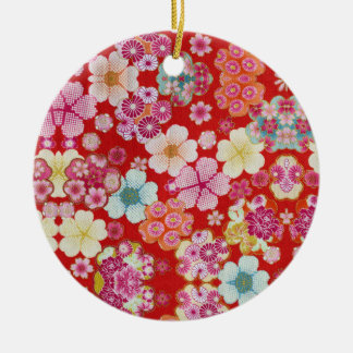 Falln Crimson Floral Chirimen Ceramic Ornament