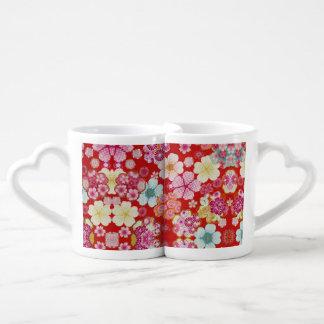 Falln Crimson Floral Chirimen Coffee Mug Set