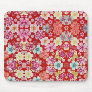 Falln Crimson Floral Chirimen Mouse Pad
