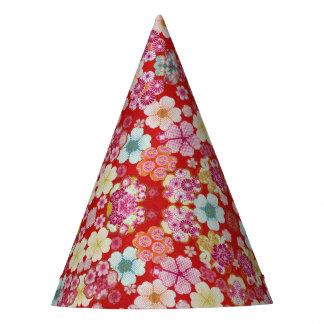 Falln Crimson Floral Chirimen Party Hat