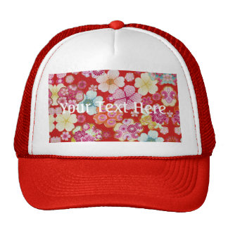 Falln Crimson Floral Chirimen Trucker Hat