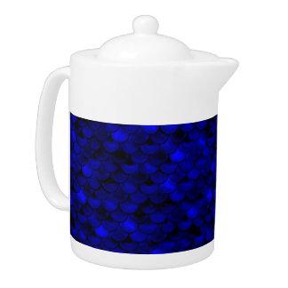 Falln Dark Blue Mermaid Scales Teapot
