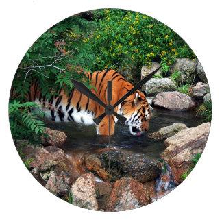 Falln Drinking Tiger Large Clock