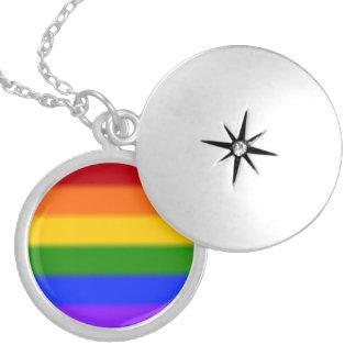 Falln Gay Pride Flag Round Locket Necklace