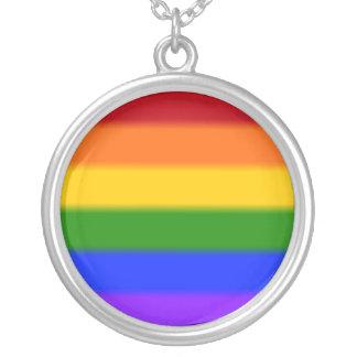 Falln Gay Pride Flag Round Pendant Necklace