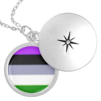 Falln Genderqueer Pride Flag Round Locket Necklace