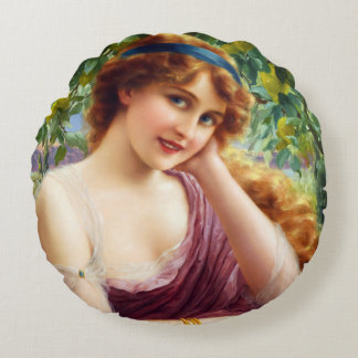 Falln Goddess of Summer Round Pillow
