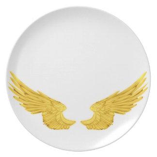 Falln Golden Angel Wings Melamine Plate