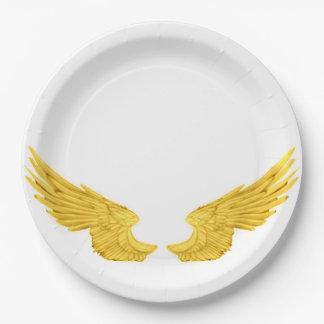 Falln Golden Angel Wings Paper Plate