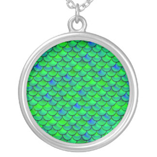 Falln Green Blue Scales Silver Plated Necklace