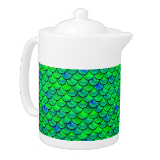 Falln Green Blue Scales Teapot
