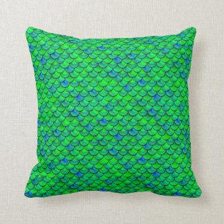 Falln Green Blue Scales Throw Pillow
