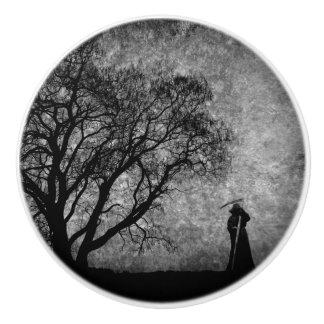 Falln Grim Reaper Original Art Boundaries Between Ceramic Knob