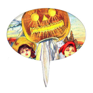 Falln Halloween Pumpkin Ghost Cake Topper