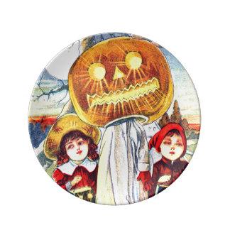 Falln Halloween Pumpkin Ghost Porcelain Plate