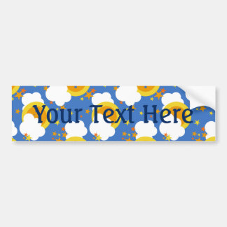 Falln Kawaii Moon, Stars, Sunshine Bumper Sticker