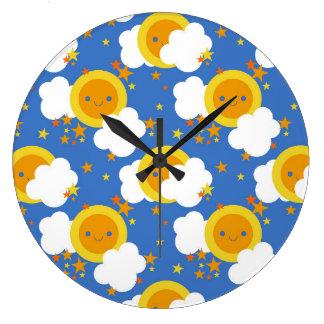 Falln Kawaii Moon, Stars, Sunshine Large Clock