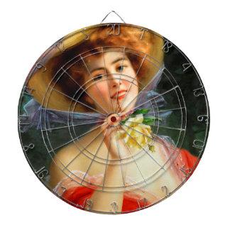 Falln Lady in Red Dart Board
