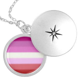 Falln Lesbian Pride Flag Round Locket Necklace