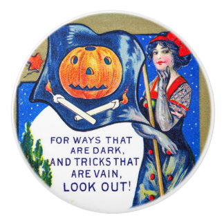 Falln Look Out Halloween Time Ceramic Knob