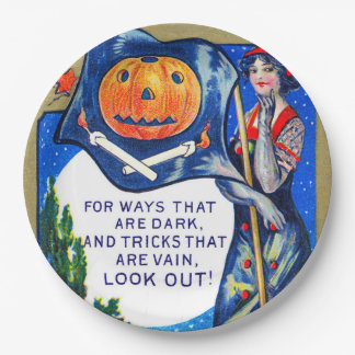 Falln Look Out Halloween Time Paper Plate