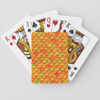 Falln Orange and Green Scales Playing Cards
