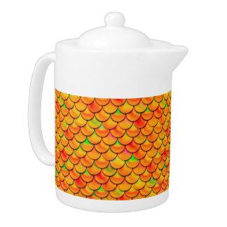 Falln Orange and Green Scales Teapot