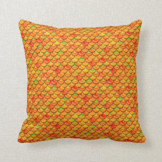 Falln Orange and Green Scales Throw Pillow