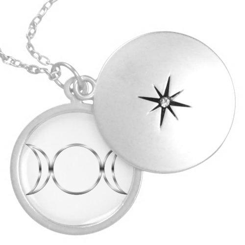 Falln Pagan Triple Goddess Symbol Round Locket Necklace
