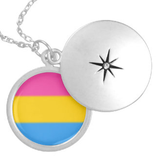 Falln Pansexual Pride Flag Round Locket Necklace