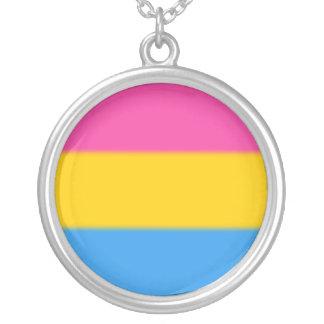 Falln Pansexual Pride Flag Round Pendant Necklace