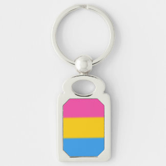 Falln Pansexual Pride Flag Silver-Colored Rectangular Metal Keychain