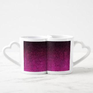 Falln Pink & Black Glitter Gradient Coffee Mug Set